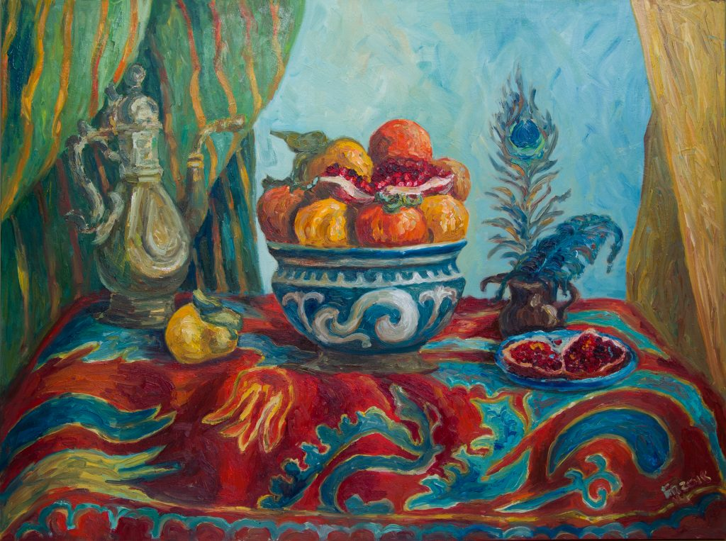 Oriental Still Life With Persimons